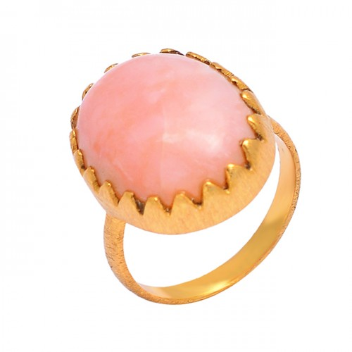 925 Sterling Silver Oval Cabochon Pink Opal Gemstone Gold Plated Ring Jewelry