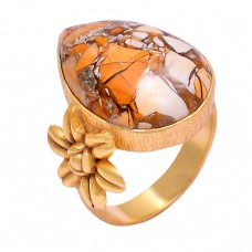 925 Sterling Silver Flower Designer Brecciated Mookaite Gemstone Gold Plated Ring