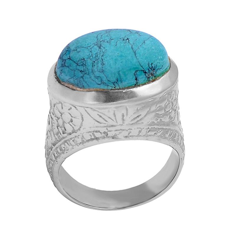 Matrix Turquoise Oval Shape Gemstone 925 Sterling Silver Gold Plated Designer Ring