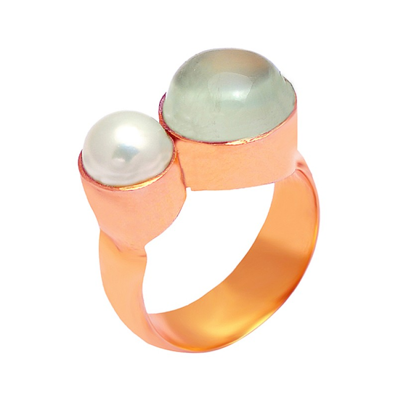 Cabochon Round Shape Gemstone 925 Sterling Silver Gold Plated Ring Jewelry