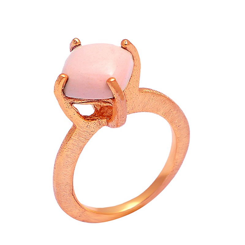 Pink Opal Square Cabochon Gemstone 925 Sterling Silver Gold Plated Ring Jewelry