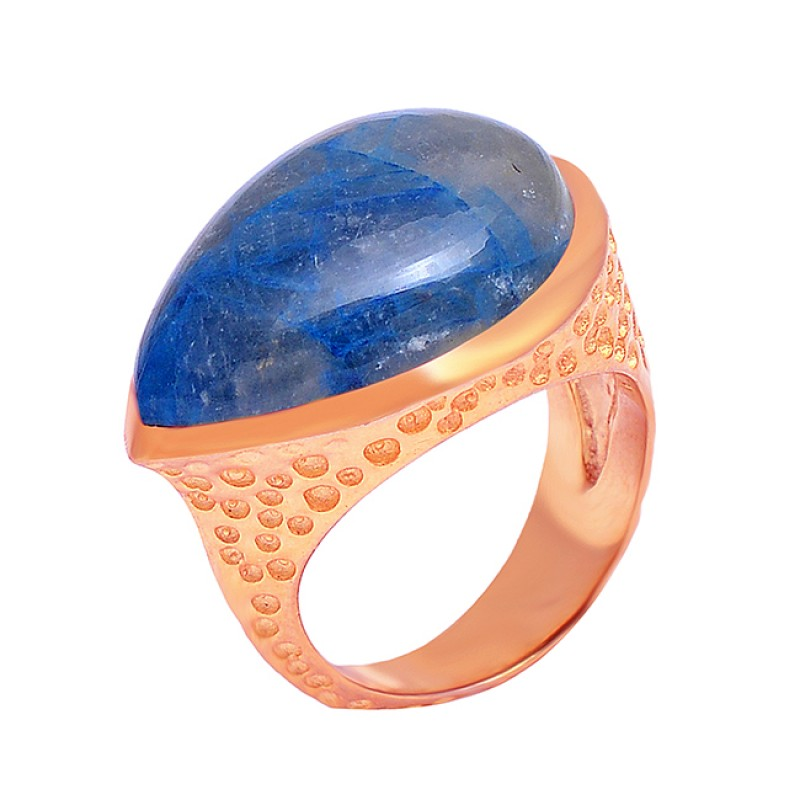 Lapis Lazuli Pear Cabochon Gemstone 925 Sterling Silver Gold Plated Ring Jewelry