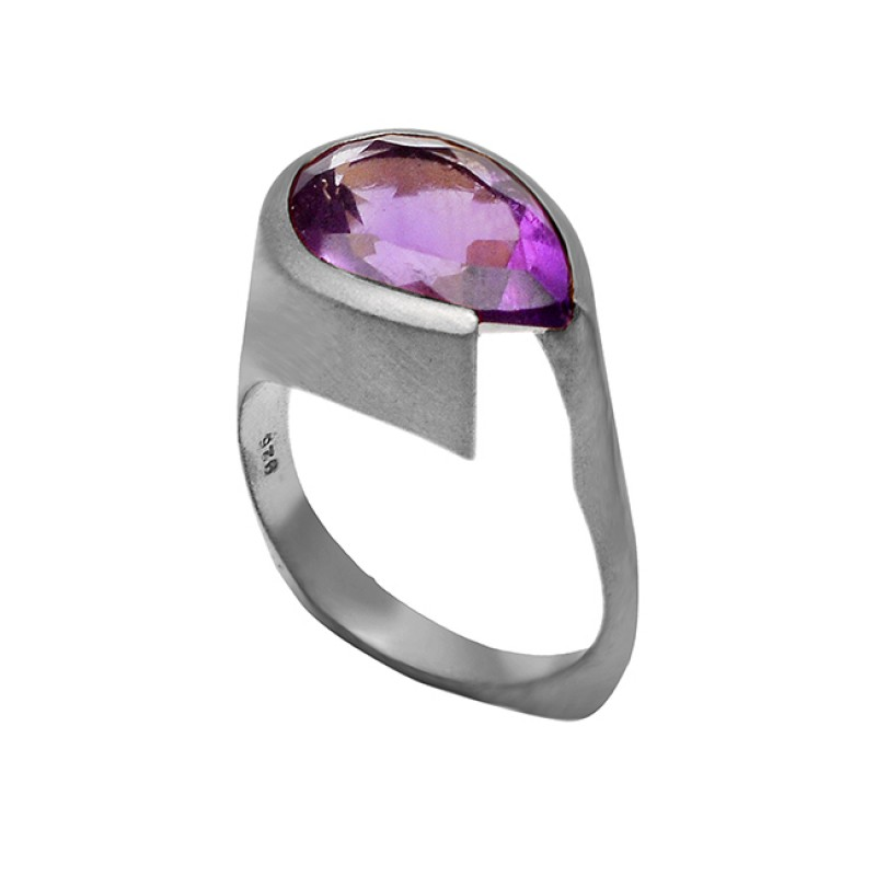 Natural Purple Amethyst Gemstone Gold Plated 925 Sterling Silver Rings jewelry