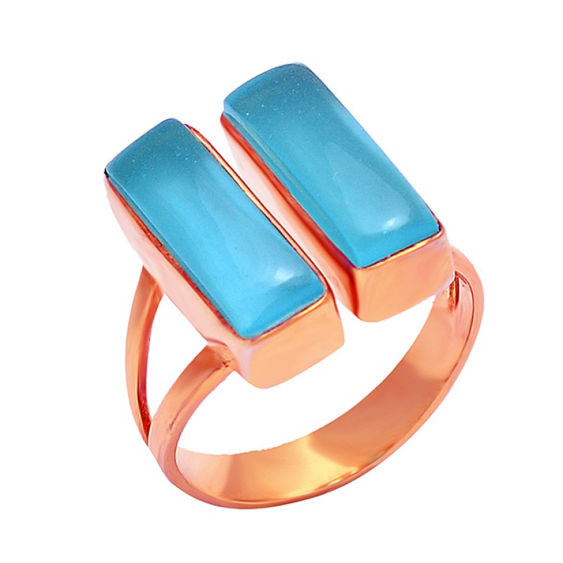 Rectangle Cabochon Chalcedony Gemstone 925 Sterling Silver Gold Plated Ring