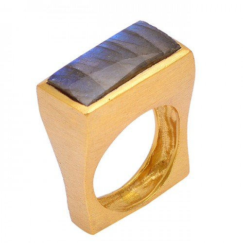 925 Sterling Silver Labradorite Rectangle Shape Gemstone Gold Plated Unique Ring