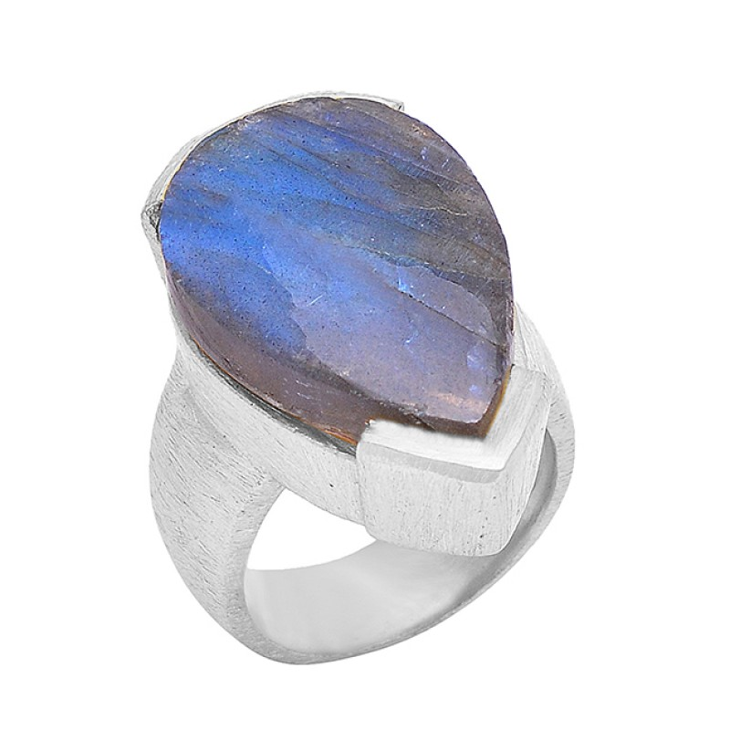 Labradorite Pear Shape Gemstone 925 Sterling Silver Gold Plated Ring Jewelry