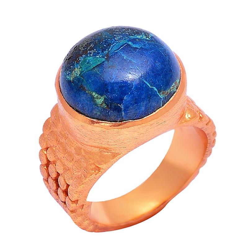 Shakutite Round Cabochon Gemstone 925 Sterling Silver Gold Plated Designer Ring