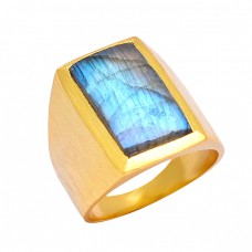 Rectangle Shape Labradorite Gemstone 925 Sterling Silver Gold Plated Ring