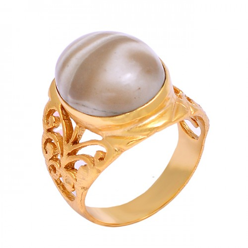 Filigree Style Handmade Flint Oval Shape Gemstone 925 Silver Gold Plated Ring