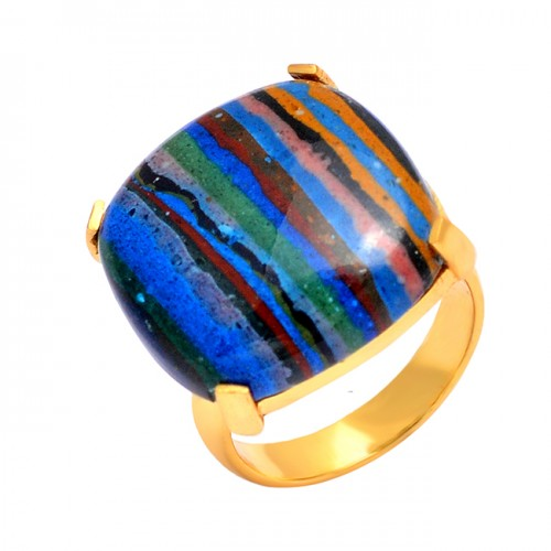925 Sterling Silver Rainbow Calsilica Cushion Cabochon Gemstone Gold Plated Ring