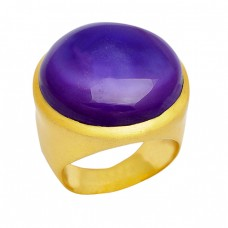 Amethyst Gemstone Round Shape 925 Sterling Silver Gold Plated Rings Jewelry