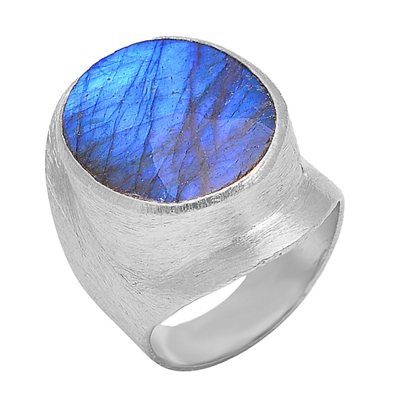 Oval Shape Labradorite Gemstone 925 Sterling Silver Gold Plated Band Ring