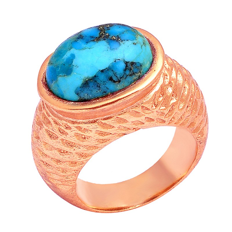 925 Sterling Silver Oval Cabochon Turquoise Gemstone Gold Plated Ring Jewelry