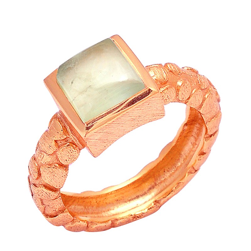 925 Sterling Silver Square Shape Chalcedony Gemstone Gold Plated Designer Ring