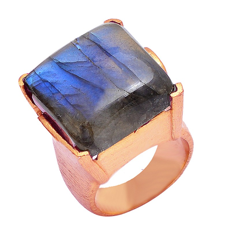 925 Sterling Silver Labradorite Square Cabochon Gemstone Gold Plated Ring