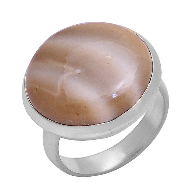 Round Cabochon Flint Gemstone 925 Sterling Silver Gold Plated Designer Ring