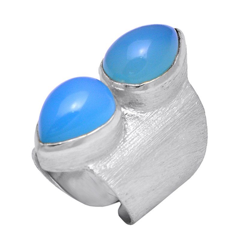 Pear Cabochon Chalcedony Gemstone 925 Silver Gold Plated Handmade Ring