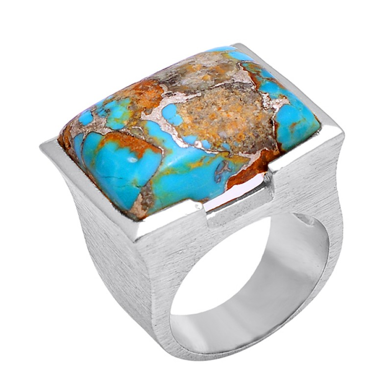 925 Silver Rectangle Shape Blue Copper Turquoise Gemstone Gold Plated Ring