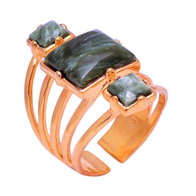Square Shape Seraphinite Gemstone 925 Sterling Silver Gold Plated Ring Jewelry