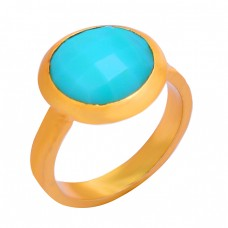 Aqua Chalcedony Round Shape Gemstone 925 Sterling Silver Gold Plated Ring