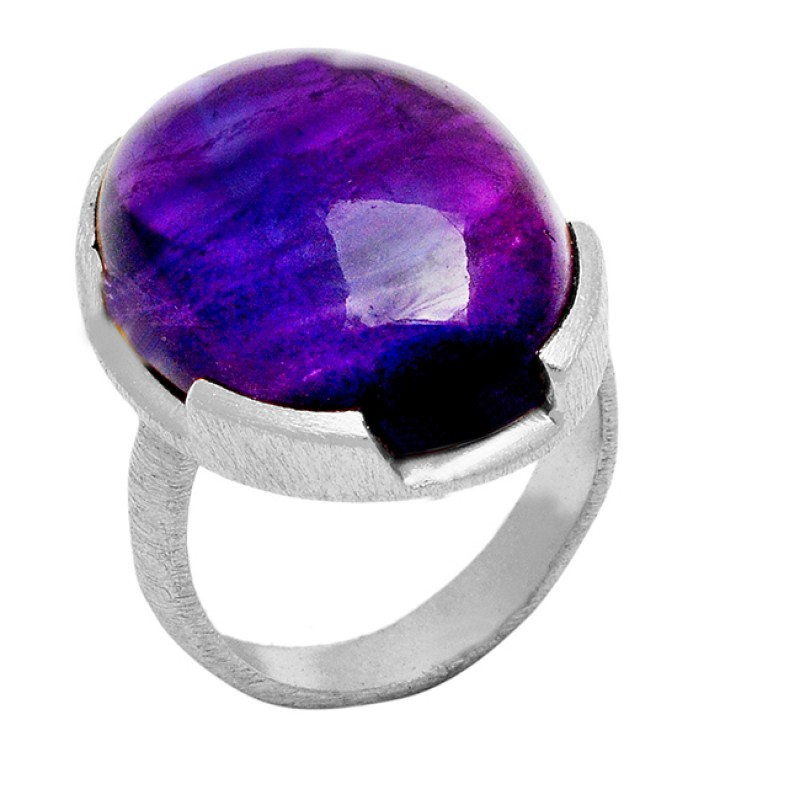 Oval Shape Amethyst Gemstone 925 Sterling Silver Gold Plated Rings jewelry