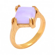 Cabochon Square Blue Lace Agate Gemstone 925 Silver Gold Plated Ring Jewelry