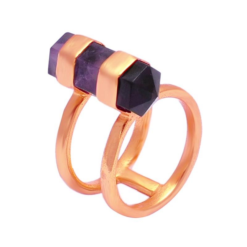 Amethyst Pencil Shape Gemstone 925 Silver Gold Plated Handmade Ring