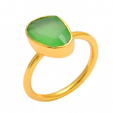 925 Sterling Silver Prehnite Chalcedony Gemstone Gold Plated Handmade Ring Jewelry