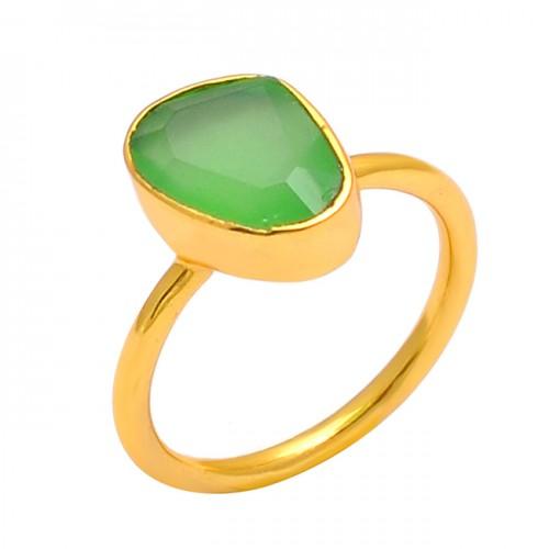 925 Sterling Silver Prehnite Chalcedony Gemstone Gold Plated Handmade Ring Jewelry