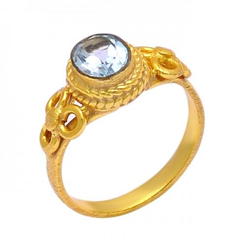 Oval Shape Blue Topaz Gemstone 925 Sterling Silver Gold Plated Ring Jewelry