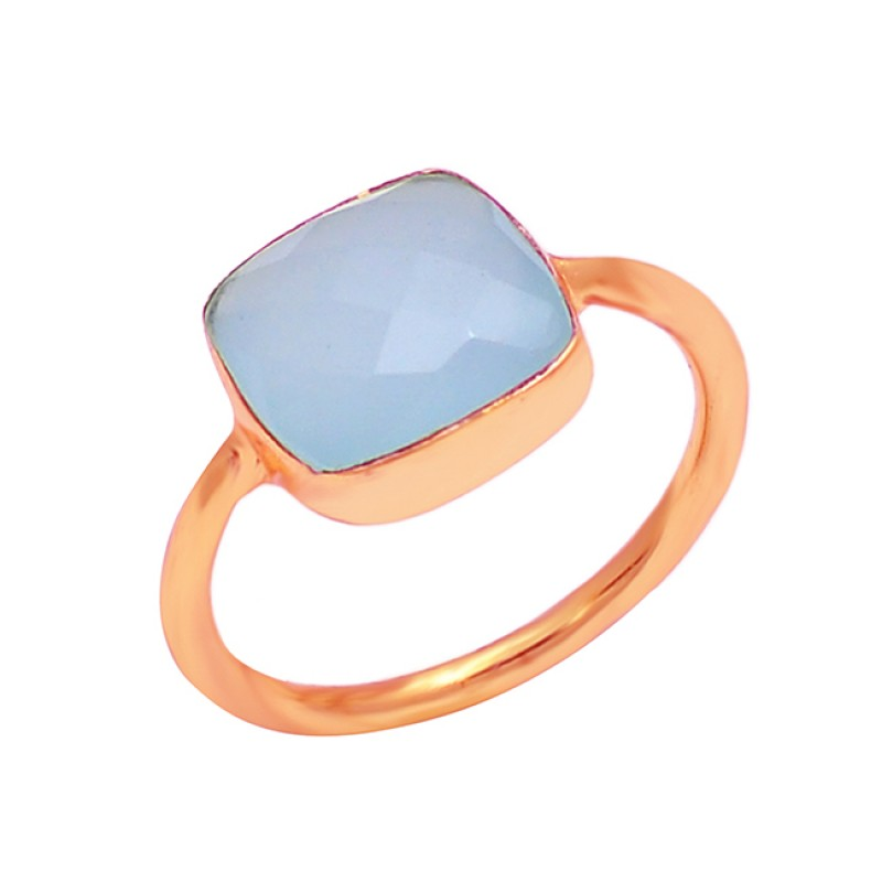 925 Sterling Silver Cushion Shape Chalcedony Gesmtone Gold Plated Ring