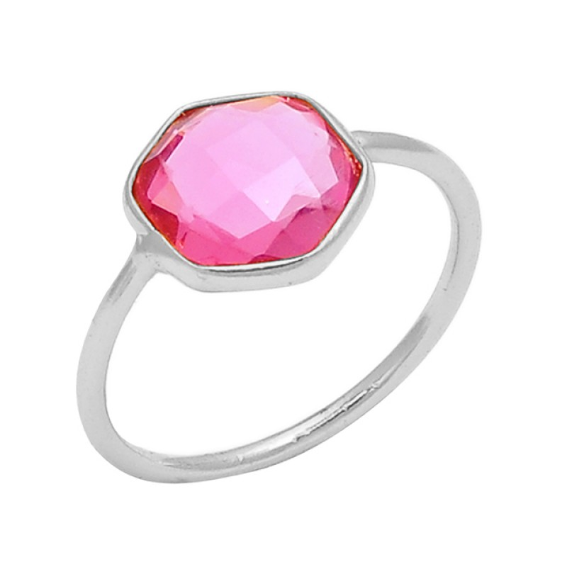 Pink Quartz Hexagon Shape Gemstone 925 Sterling Silver Gold Plated Ring