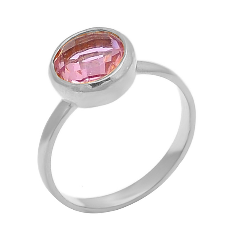 Pink Quartz Round Shape Gemstone 925 Sterling Silver Gold Plated Ring Jewelry