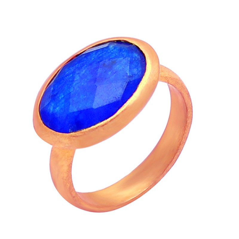 Lapis Lazuli Oval Shape Gemstone 925 Sterling Silver Gold Plated Ring Rings Jewelry