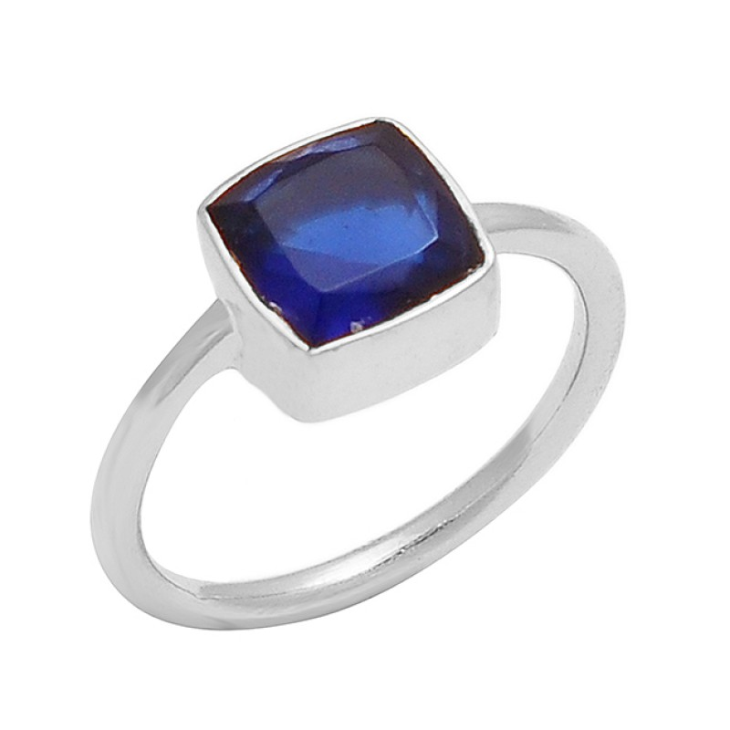 Blue Quartz Square Shape Gemstone 925 Sterling Silver Gold Plated Ring Jewelry