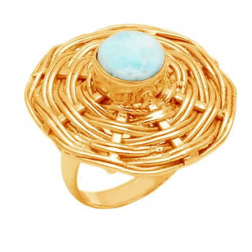 Blue Larimar Gemstone Round shape 925 sterling Silver Gold Plated Rings Jewelry