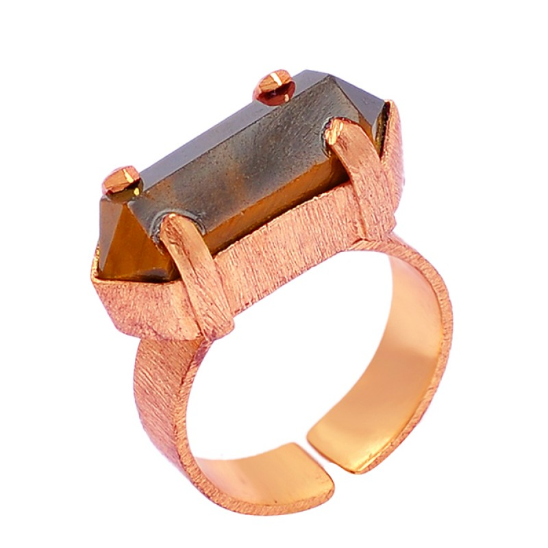 Pencil Shape Tiger Eye Gemstone 925 Sterling Silver Gold Plated Ring Jewelry