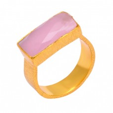 925 Sterling Silver Rose Chalcedony Gemstone Gold Plated Designer Ring