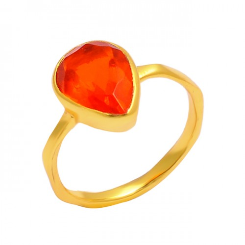 Pear Shape Fanta Quartz Gemstone 925 Sterling Silver Gold Plated Band Ring