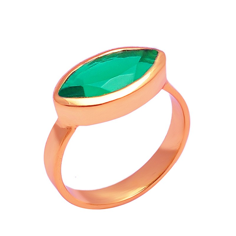 Marquise Shape Green Quartz Gemstone 925 Sterling Silver Gold Plated Ring