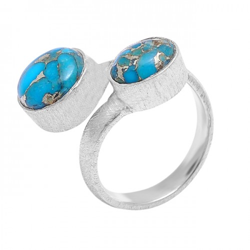 Blue Copper Turquoise Round Oval Shape Gemstone 925 Sterling Silver Handmade Ring