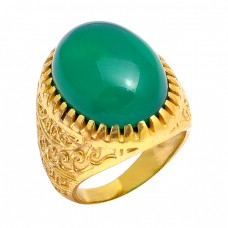 Green Onyx Cabochon Oval Shape Gemstone 925 Silver Gold Plated Vintage Designer Ring