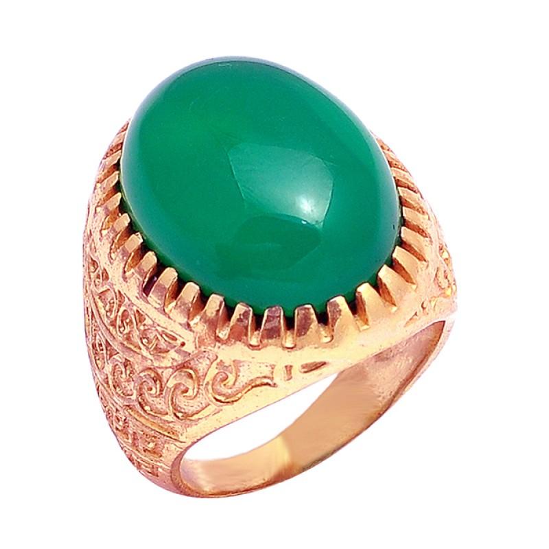 Green Onyx Cabochon Oval Shape Gemstone 925 Silver Gold Plated Vintage Designer Ring