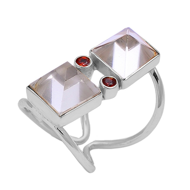 Crystal Quartz Garnet Gemstone 925 Sterling Silver Gold Plated Band Designer Ring