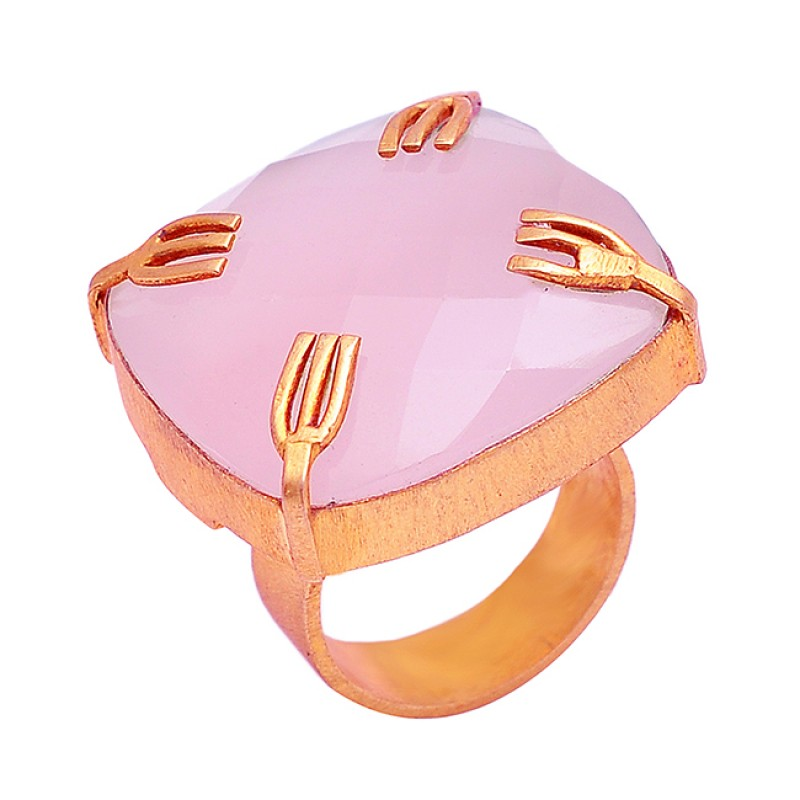 925 Sterling Silver Cushion Shape Rose Chalcedony Gemstone Gold Plated Ring