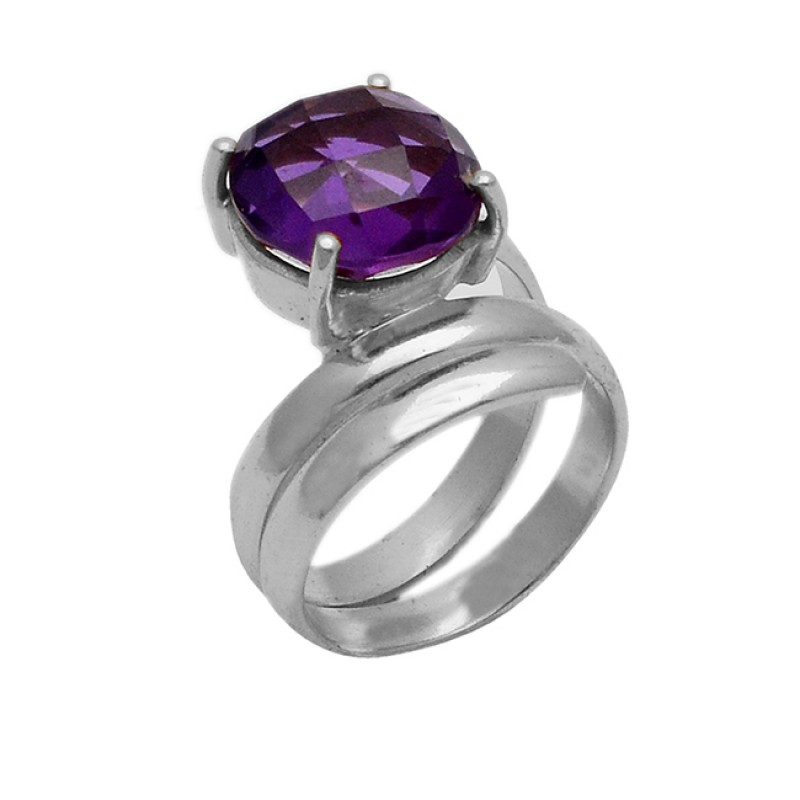 Designer Amethyst Gemstone Round Shape 925 Sterling Silver Gold Plated Bands Rings Jewelry