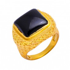 925 Sterling Silver Cabochon Square Shape Black Onyx Gemstone Gold Plated Ring
