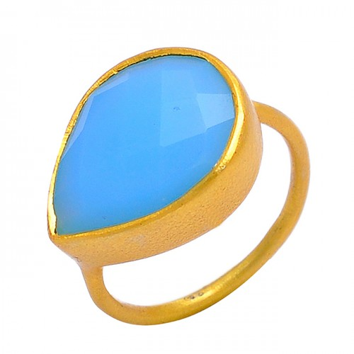 925 Sterling Silver Blue Chalcedony Pear Shape Gemstone Gold Plated Ring