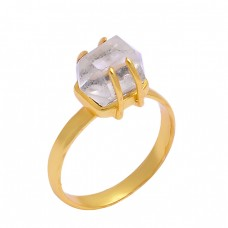 Crystal Quartz Pencil Shape Handmade Designer 925 Silver Gold Plated Ring