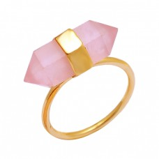 Rose Quartz Pencil Shape Gemstone 925 Sterling Silver Gold Plated Ring Jewelry